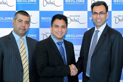 L-R: Rohit Oberoi Director of Channel Sales –  India, Middle East and Africa, Seclore; Hishamul Hasheel, Vice President – Software & Security, Redington Value; Amit Malhotra, VP –  Sales India Middle East & Africa, Seclore (PRNewsfoto/Seclore)