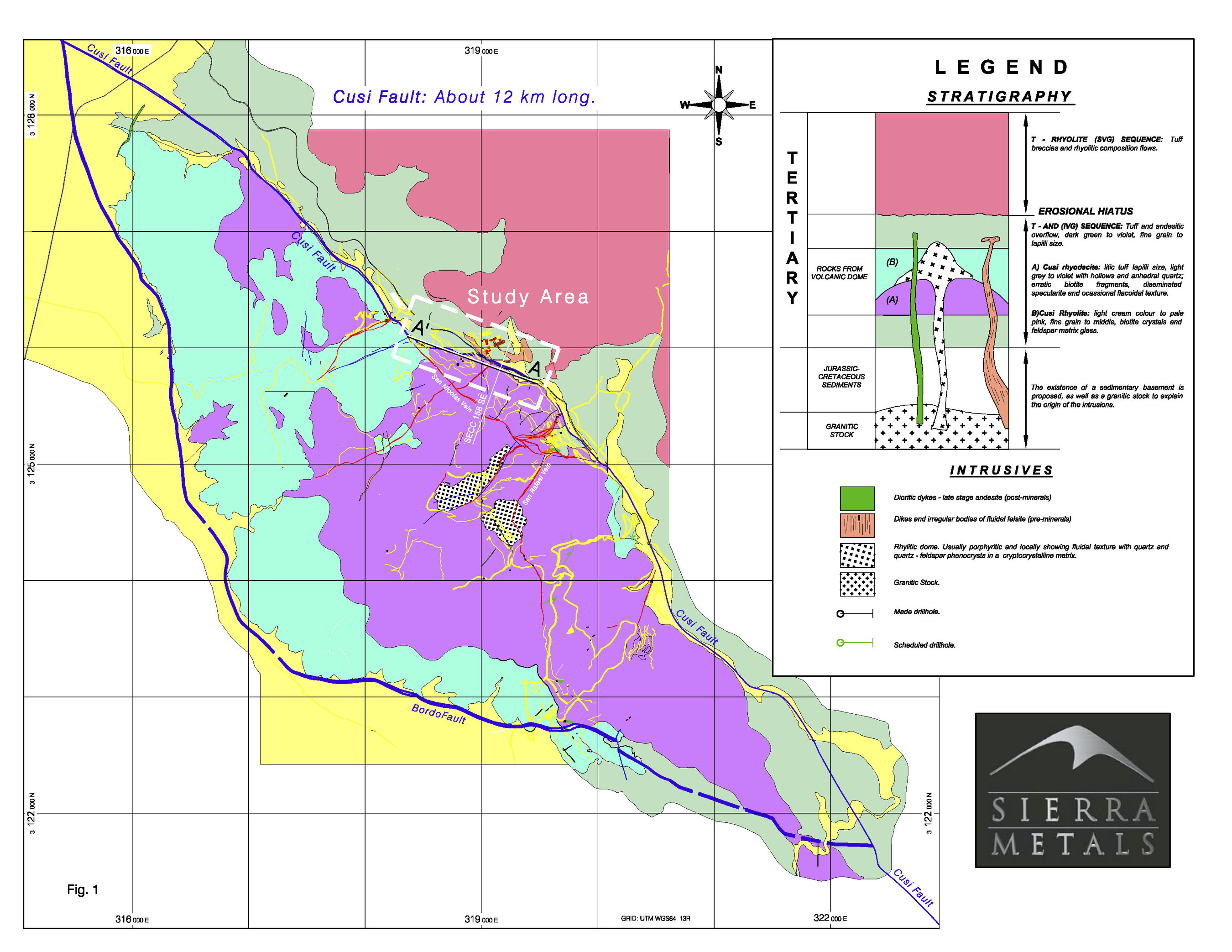 Figure 1. – Plan Map of Cusi Area (CNW Group/Sierra Metals Inc.)