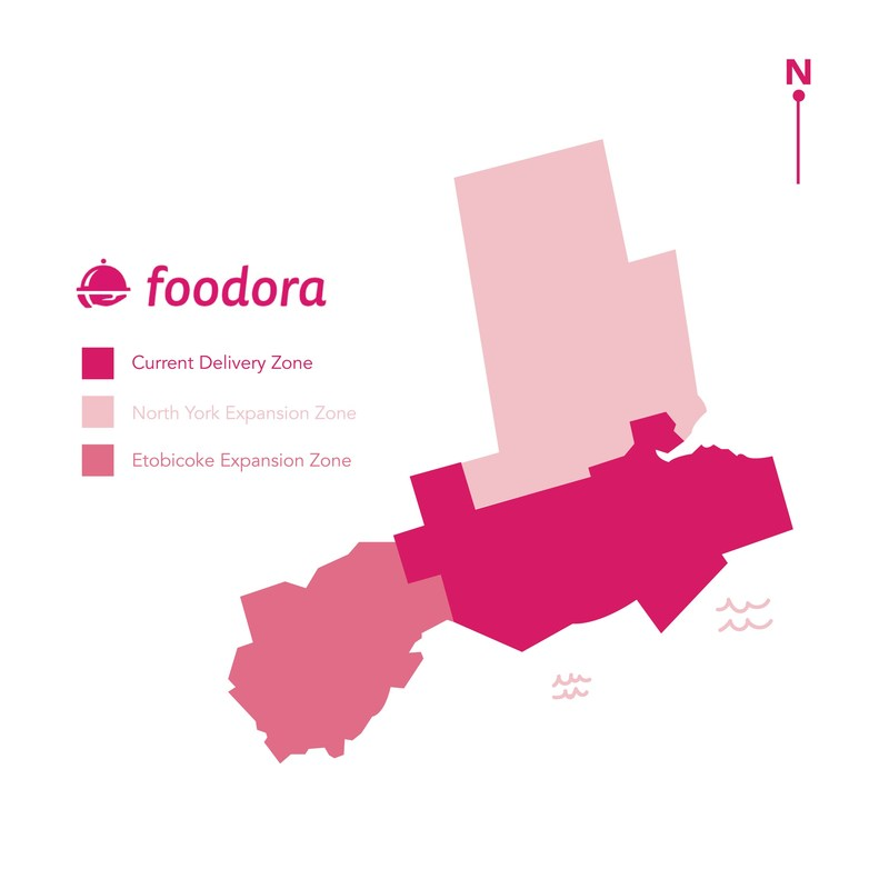 foodora Canada's newly expanded service area in Toronto (CNW Group/foodora)