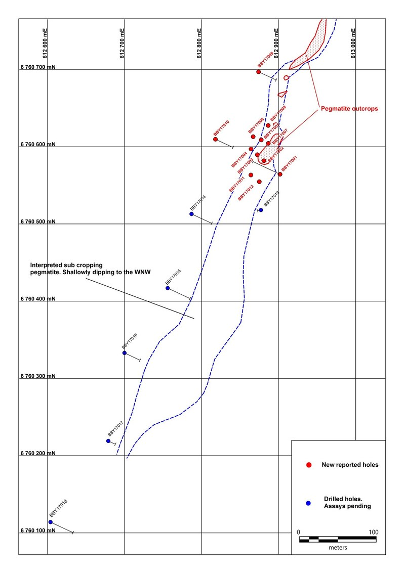 Figure 1: Location of Drilling and Interpreted Trend of Lithium-Bearing Pegmatite, Bergby Project.  Grid presented in SWEREF coordinate system. (CNW Group/Leading Edge Materials Corp.)