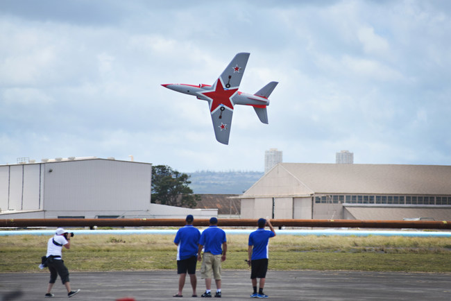 A Havoc Jet flies low overhead, one of over 25 aircraft that flew at the show.