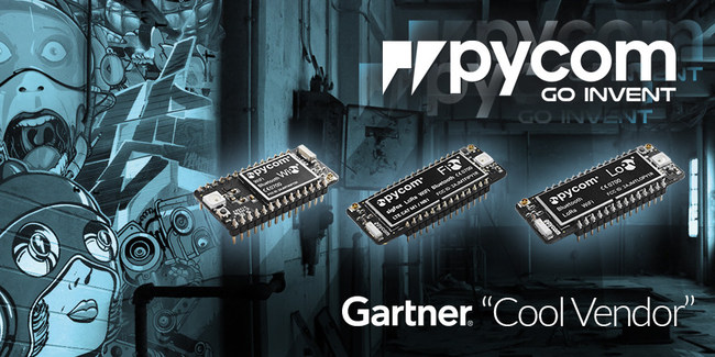 Pycom enables and Inspires everyone to be an inventor with a 10x-faster-deployment IoT development platform comprising multi-LPWAN-network, MicroPython-enabled development boards (you may have heard of them: WiPy, LoPy, SiPy, Gpy and FiPy) and OEM modules, plus a full suite of free IoT services.