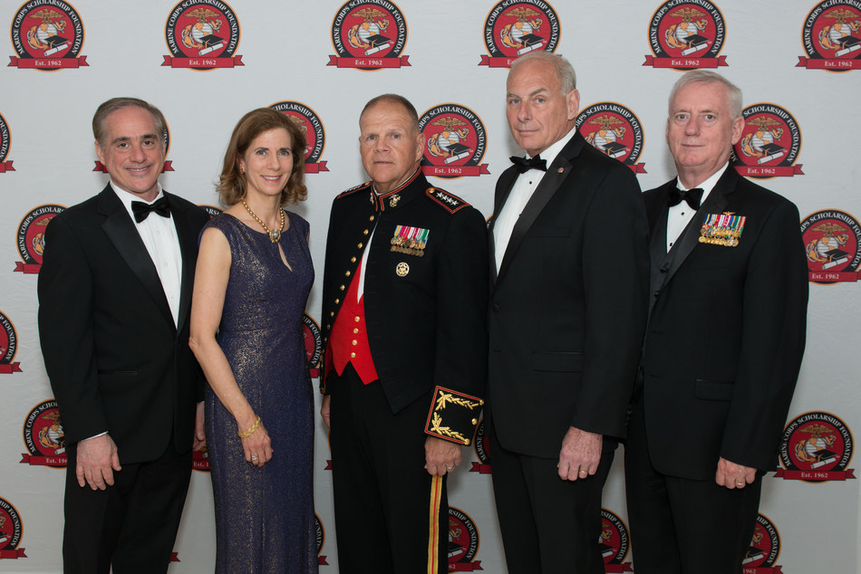 From left to right: Dr. David Shulkin, Secretary of Veteran Affairs; Margaret Davis, President and CEO of the Marine Corps Scholarship Foundation; Gen Robert Neller USMC, 37th Commandant of the Marine Corps; Secretary of Homeland Security John Kelly; and LtGen George Trautman USMC (Ret.), Chairman of the Marine Corps Scholarship Foundation