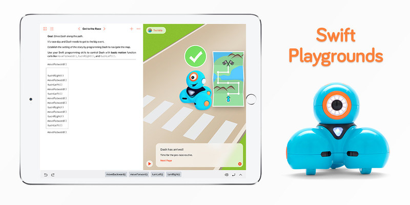 Dash can be programmed using real Swift code with Wonder Workshop's new playground in the Swift Playgrounds app. You can use Swift code to make Dash react to sound, light up, and move -- a complete experience for students!