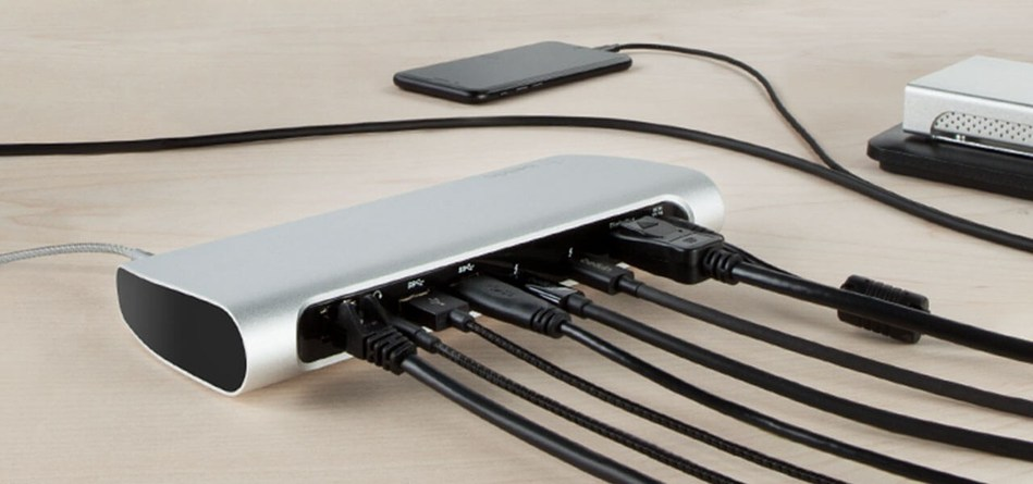 The Thunderbolt 3 Express Dock HD is a complete single-cable docking solution providing connectivity and power to the updated MacBook Pro or iMac.