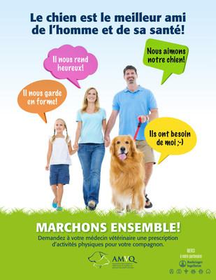 Les Québécois en meilleur santé grâce à leur chien! Les propriétaires de chiens consacrent en moyenne 26 % plus de temps à la marche de loisir ou au jogging que ceux qui n'en ont pas. (Groupe CNW/Association des médecins vétérinaires du Québec)