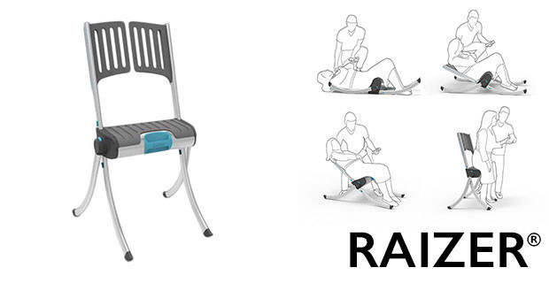 The Raizer is easily assembled around the fallen person. Next, push the button for it to electronically raise the person from the floor to a nearly standing position. Safe, easy, lightweight and fast. No need to call 911.