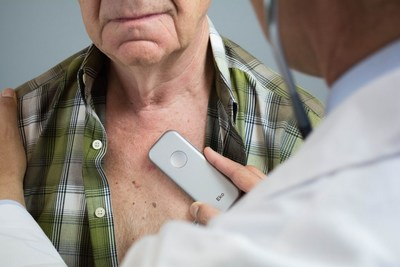 A physician uses the Eko DUO, a combined digital stethoscope and electrocardiogram, on a patient. DUO can also be prescribed to heart disease patients for at-home monitoring. For the first time, Americans with heart disease have the ability to bring the level of cardiac screening they get in the hospital back home with them.