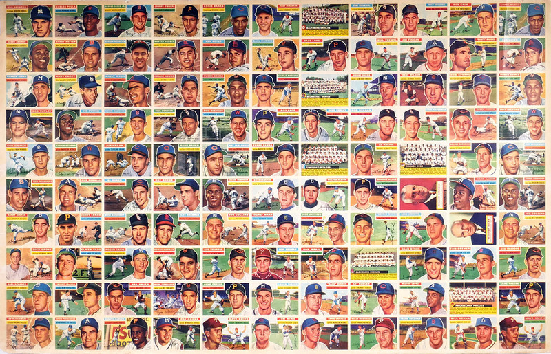 Rare 1956 Topps uncut sheet of 110 baseball cards including more than a dozen Hall of Famers. Auction estimate: $9,000-$15,000