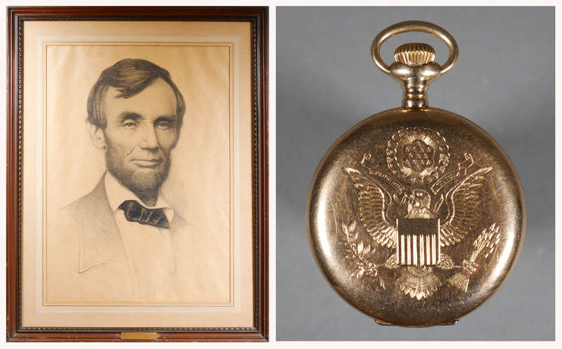 1897 lithograph portrait of Abraham Lincoln signed by artist Joseph DeCamp; right: 14K gold pocketwatch given by Pres. Theodore Roosevelt to a heroic British ship captain in 1905.