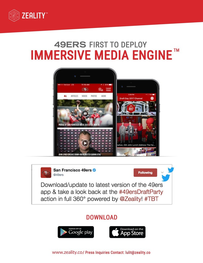 The San Francisco 49ers Partner With Zeality To Take The Leap Into Using Immersive Media Delivering 360° Content, Changing The Game With Fan Engagement
