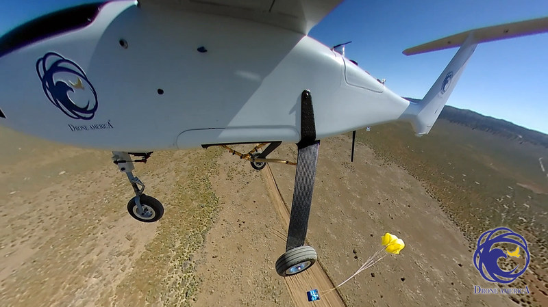 Drone America demonstrates emergency package drop from Savant UAS during NIAS NASA UTM Test (Image courtesy of Drone America)