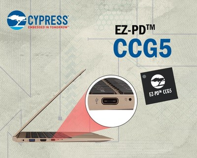 Pictured is Cypress' EZ-PD CCG5 USB-C controller with Power Delivery optimized for Thunderbolt notebook and desktop PCs and docking stations.