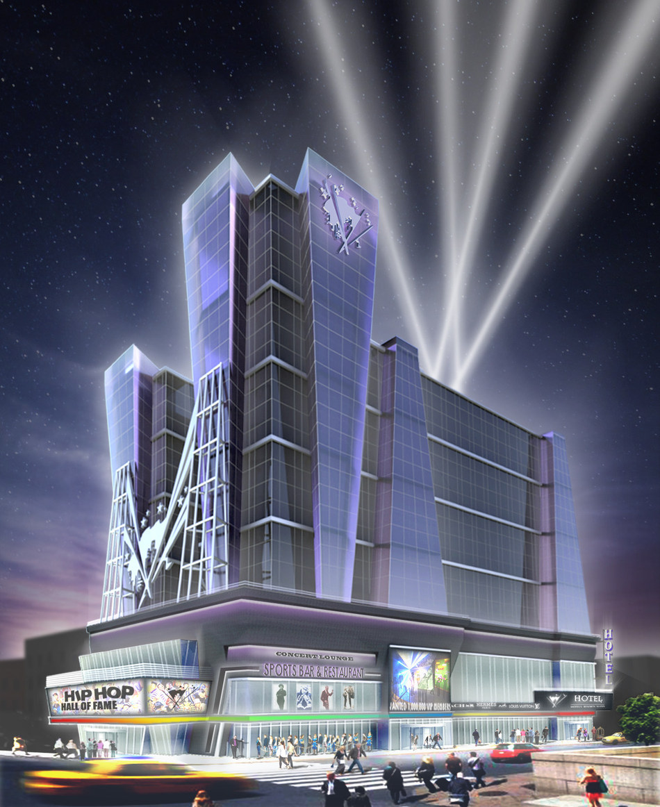 A Rendering of The Proposed Official Hip Hop Hall of Fame + Museum & Entertainment Mega-Complex