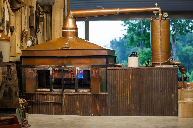"Casey Jones Distillery, Hopkinsville, Kentucky-based craft distillery, uses this still handcrafted by Master Distiller Arlon ""AJ"" Jones. The design is that of his grandfather's, moonshine legend Casey Jones."