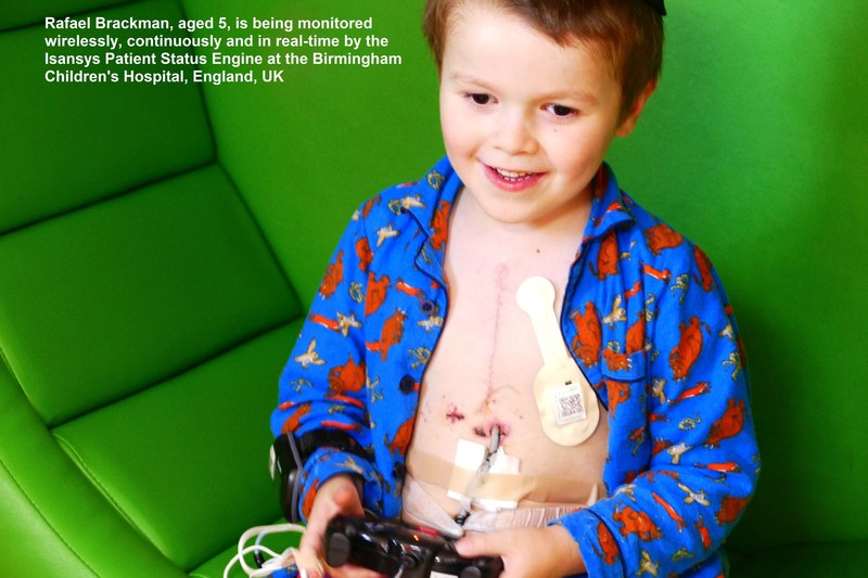 Rafael Brackman, aged 5, is being monitored wirelessly, continuously and in real-time by the Isansys Patient Status Engine at the Birmingham Children's Hospital, England, UK (PRNewsfoto/Isansys Lifecare)