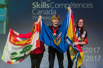 Medalists are awarded at the Closing Ceremony of the 2017 Skills Canada National Competition (CNW Group/Skills/Compétences Canada)