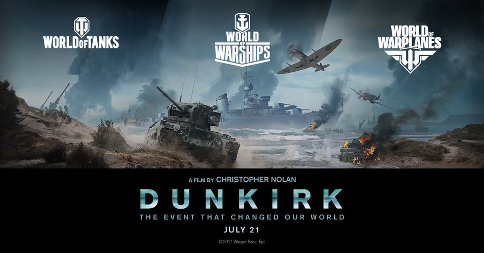 """Wargaming partners with Warner Bros. for epic action thriller """"DUNKIRK"""", written and directed by Christopher Nolan. Leading WWII strategy video game publisher honors historic """"Miracle of Dunkirk"""" evacuation across World of Tanks, World of Warships and World of Warplanes."""