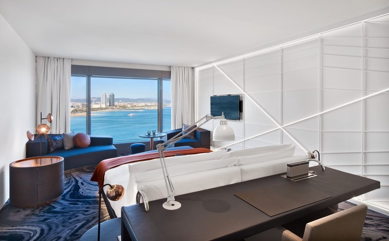 A newly renovated Fabulous Room with sweeping views of the Mediterranean at W Barcelona.