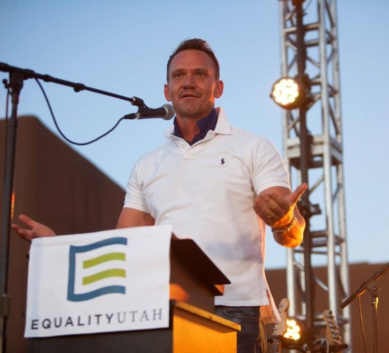 CEO Robert Edwards accepts Excellence in Advocacy Award from Equality Utah, May 20, 2017