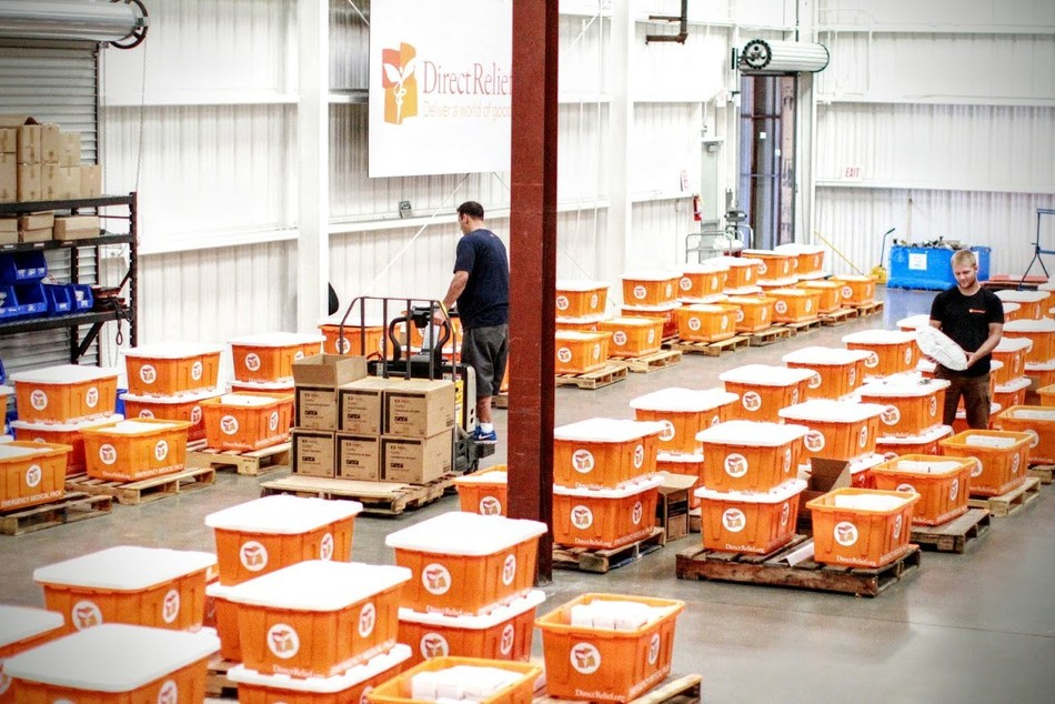 Direct Relief assembles hundreds of hurricane preparedness modules, filled with essential medical items, in advance of the hurricane season.
