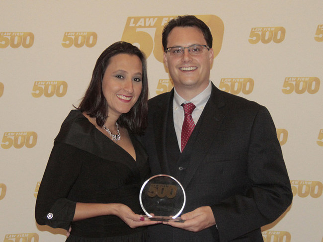 2016 Law Firm 500 Award winners Eric and Jenn Broel of Broel Law Group, Marietta, GA were 11th on the list of fastest growing law firms in the U.S., with a 489.57% growth between 2012 and 2015. Application deadline for 2017 applications is June 30th.