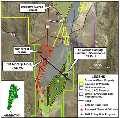 Figure 1: Location of the phase 1 drill holes relative to previous drilling (CNW Group/Advantage Lithium Corp)