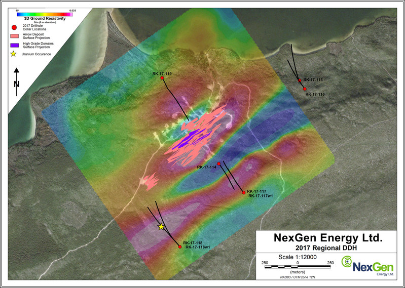 Figure 3: Southeast Arrow - Exploration Drill Hole Locations (CNW Group/NexGen Energy Ltd.)