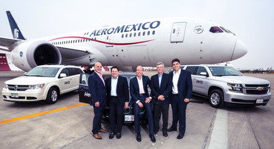 On the photo from left to right: Moises Behar ,CEO, Hertz Mexico; Robert (Bob) Stuart, Executive Vice President Global Sales, Hertz; Anko van der Werff, Chief Revenue Officer, Aeroméxico; Peter Ordal, Vice President Strategic Alliances, Hertz, and Emilio Monsant, Vice President Ancillary Revenue, Aeroméxico.
