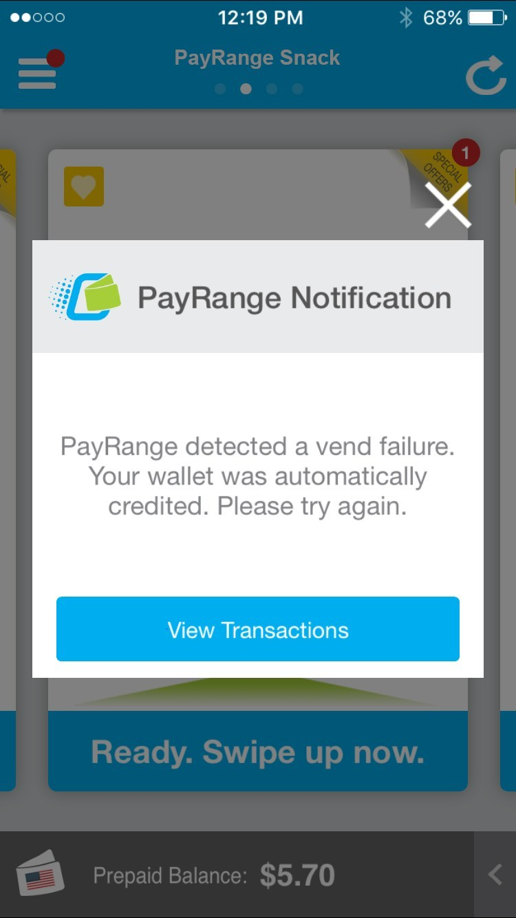PayRange Refund ScreenShot