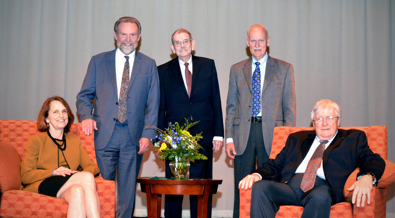 Foulkeways at Gwynedd's '50 & Forward' luncheon and senior living panel discussion. Seated: Katie Sloan Smith, CEO of LeadingAge and Larry Minnix, former CEO of LeadingAge. Standing (left to right): D. Michael Peasley, CEO of Foulkeways; Donald Moon, Former CEO of Foulkeways and Foulkeways resident; Phillip L. Henderson, President of the Board of Directors.
