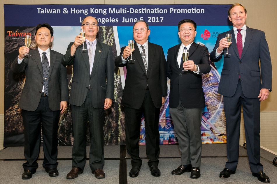 Toasting to the attending guests at the Taiwan & Hong Kong Multi-Destination Promotion in Los Angeles, June 7, 2017, are (from left) Mr. Brad Shih, Director of Taiwan Tourism Bureau, Los Angeles; Mr. Eric Lin, Secretary General, Taiwan Tourism Bureau; Dr. Peter Lam, Chairman, Hong Kong Tourism Board; Mr. Anthony Lau, Executive Director; and Mr. Bill Flora, Director, USA Office of Hong Kong Tourism Board. Photo Credit: Jenny Park/Hong Kong Tourism Board.