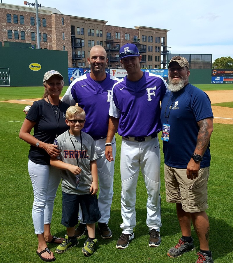 Wounded Warrior Project veteran Joe Merritt is becoming more comfortable with crowds after PTSD treatment at Warrior Care Network. He recently joined his family in being recognized during a college baseball tournament.
