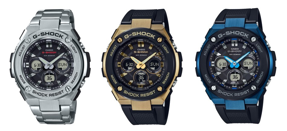 All New Mid-Size G-STEEL Collection: The GSTS310D-1A, GSTS300G-1A9 and GSTS300G-1A2