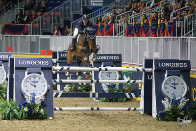 McLain Ward (USA) won the $130,000 Longines FEI World Cup™ Jumping Toronto aboard HH Azur at the 2016 Royal Horse Show in Toronto, ON. Photo by Ben Radvanyi Photography (CNW Group/Royal Agricultural Winter Fair)