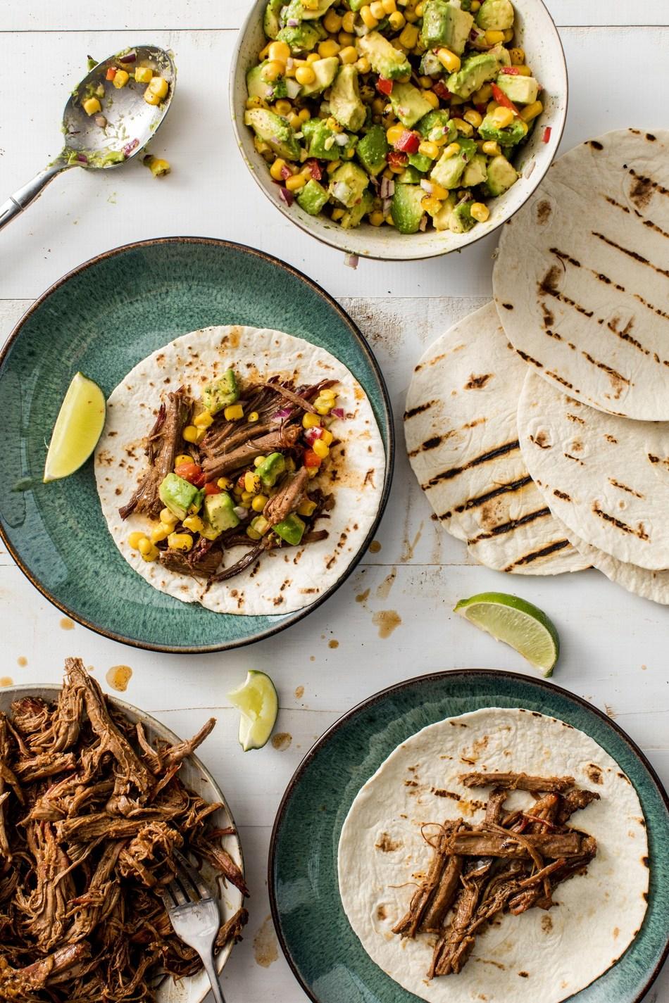 Stubb's Brisket Tacos with Roasted Corn Avocado Salsa