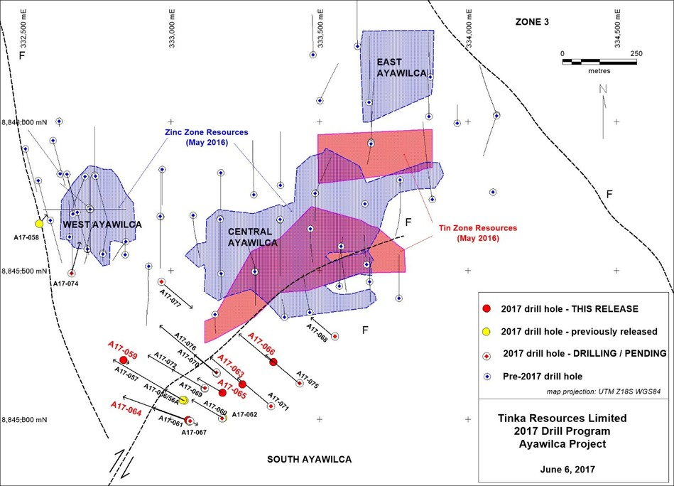Figure 1.   Map of Ayawilca drill holes with existing zinc - tin resources (hatched) (CNW Group/Tinka Resources Limited)