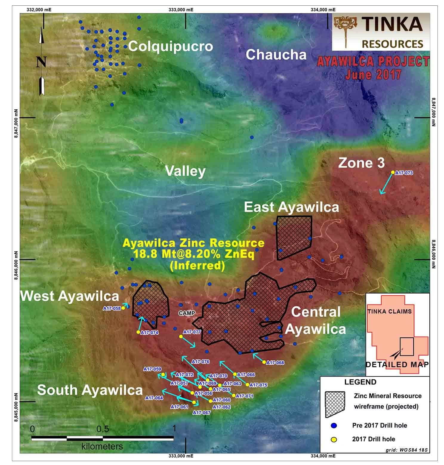 Figure 2.   Map of 2017 Ayawilca drill program on airborne RTP magnetics (red = magnetic sources) (CNW Group/Tinka Resources Limited)