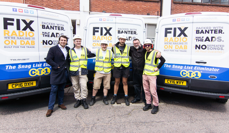 Fixradio PR Team about to fee London's builders sponsored by CT1 (PRNewsfoto/CT1)
