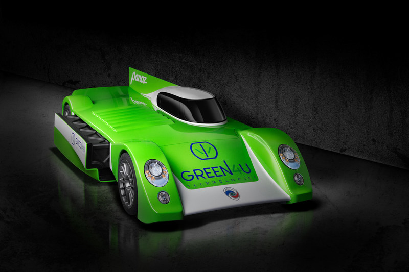 Green4U Technologies, Inc., formed in 2016 to provide electric vehicles (EVs) and EV technologies, and Panoz, a Green4U company, today unveiled an all-electric race car concept with the goal of delivering performance and range similar to internal combustion engine and hybrid powertrain race cars and able to compete in long-distance endurance races. Key is the ability to go as far as petrol and hybrid race cars on the power in a single battery pack, then exchange the battery while they refuel.