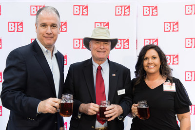 Christopher J. Baldwin (left), President and CEO of BJ's Wholesale Club, Mayor Wiley Johnson (center) and Dawn Albright (right), General Manager at BJ's Wholesale Club toast to the opening of the new Summerville Club with sweet tea on June 1, 2017.