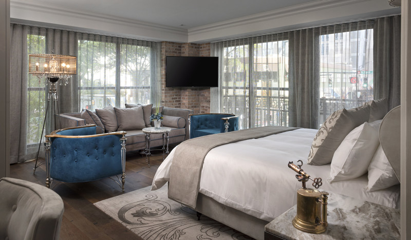 One of three luxurious King Balcony Suites overlooking Tryon Street at The Ivey's Hotel in Uptown, Charlotte. Credit: Peyton Lea