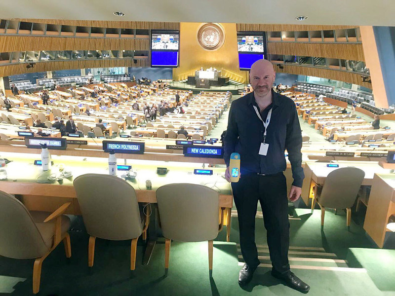 Gululu's co-founder, Mr. Asi Meskin at the United Nations' General Assembly Hall