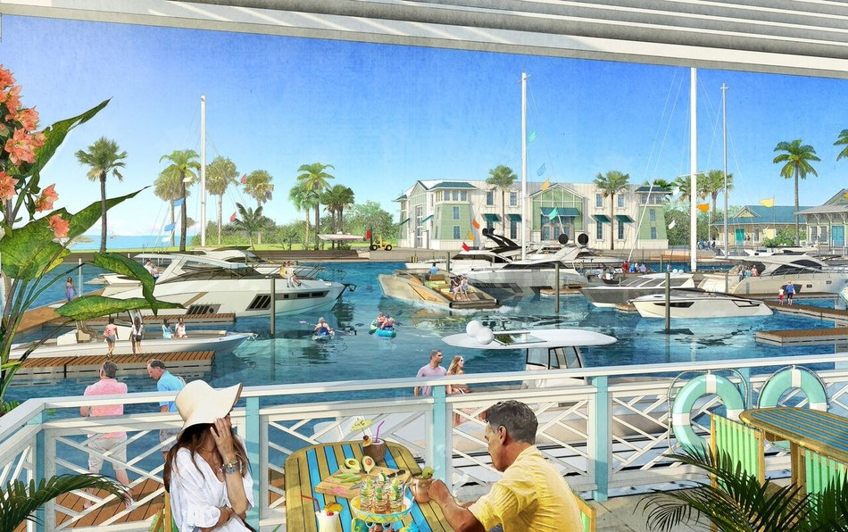 The One Particular Harbour Marina will include 55 wet slips and 128 dry slips, ships store, and up to 30,000 square feet of commercial space with restaurants, entertainment and shops. Renderings by The McBride Company.