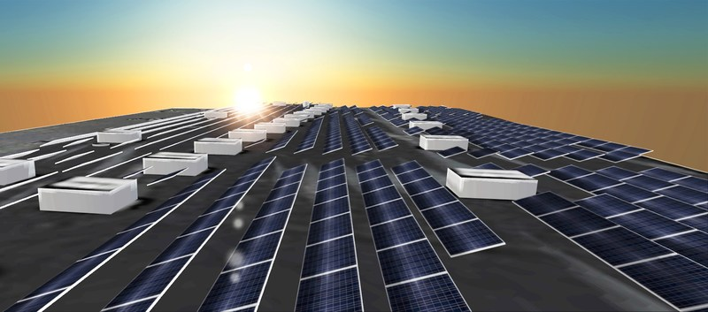 A commercial PV system design generated in Aurora. (PRNewsfoto/Aurora Solar Inc.)