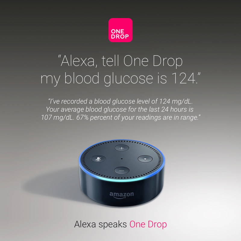 """Alexa, tell One Drop my blood glucose is 124"""