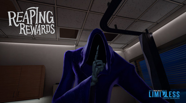 """""""Reaping Rewards"""" takes the VR viewer through a series of emotional choices as a young Grim Reaper in training, and explores life and death from multiple perspectives."""