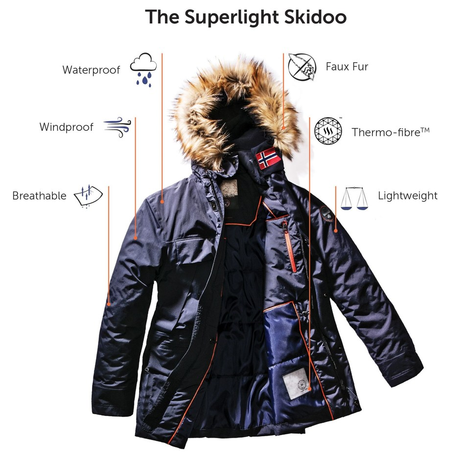 The Napapijri Superlight Skidoo, a new lightweight jacket featuring both down & fur free innovations. The parka - which is 1 kilogram (or 2 pounds) lighter than Napapijriís average winter parka seeks innovation beyond aesthetic and integrates functionality. (PRNewsfoto/Napapijri)