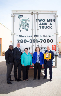 Every Two Men And A Truck vehicle in the Alberta Capital sports a Mikey On Board defibrillator with drivers/movers trained to use them. Celebrating the Grand Opening of the company's first Northern Alberta franchise are (R-L) Edmonton Ward 11 Councillor, Mike Nickel; Edmonton Mill Creek MLA, Denise Woolard; Helene Gagnon, Constituency Assistant to Edmonton Strathcona MP Linda Durant; Two Men And A Truck - Canada President, John Prittie and Edmonton South Franchise Owner/General Manager, George Nwajiaku (pronounced Wa-jar-ku). Photo: Carmyn Joy Effa Photography (CNW Group/Two Men and a Truck)