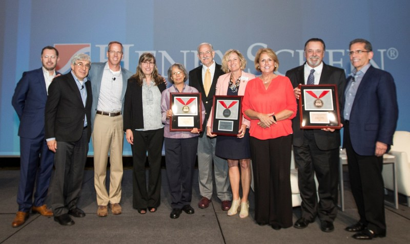 Henry Schein, Inc. has awarded its Henry Schein Cares Medals in the Dental category. L-R: Gerard Meuchner, Chairman and CEO Stanley M. Bergman, and Tim Sullivan of Henry Schein; Ann Copeland and Dr. Vacharee Peterson of gold medalist Community Dental Care; Dr. Thomas Underwood and Dr. Rhonda Switzer-Nadasdi of silver medalist Interfaith Dental Clinic of Nashville; Melissa Boughman and Dr. William Donigan of bronze medalist Gaston Family Health Services; and Henry Schein's Jim Breslawski.